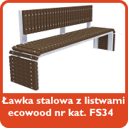 Ławka stalowa z listwami ecowood nr kat. FS34