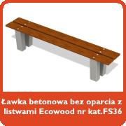 Ławka betonowa bez oparcia z listwami Ecowood nr kat. FS36