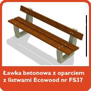 Ławka betonowa z oparciem z listwami Ecowood nr kat. FS37