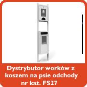 Dystrybutor worków z koszem na psie odchody nr kat. FS27